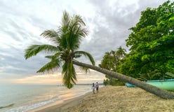夫妇恋人走到热带海滩的末端 库存图片