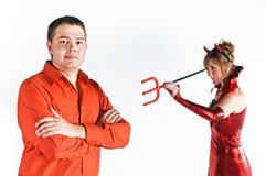 夫妇恶魔红色 库存图片