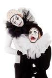 夫妇悲哀小丑被隔绝 库存图片