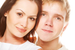 夫妇愉快微笑 免版税图库摄影