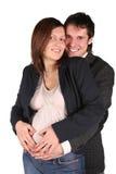 夫妇愉快怀孕 免版税图库摄影