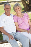 夫妇愉快的外部高级微笑的阳光 图库摄影