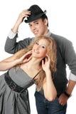夫妇愉快的纵向年轻人 免版税库存照片
