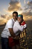 夫妇愉快的讲西班牙语的美国人 免版税库存图片
