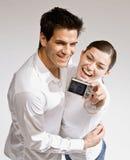 夫妇愉快纵向自采取 免版税库存图片