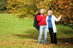 夫妇成熟浪漫的公园 库存图片