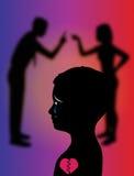 夫妇战斗影响孩子儿童例证 免版税图库摄影