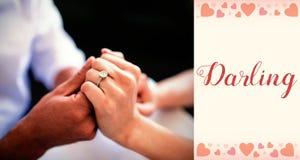 夫妇手和华伦泰词的综合图象 免版税库存照片