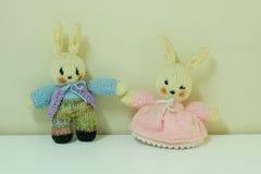 夫妇扭转兔子玩偶 免版税图库摄影