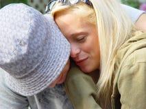 夫妇拥抱少年 图库摄影