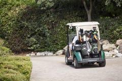 夫妇推车高尔夫球的高尔夫球运动员 免版税库存图片