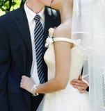 夫妇日亲吻的婚礼 免版税库存照片