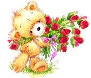 夫妇日例证爱恋的华伦泰向量 滑稽的玩具熊和红色心脏 免版税库存图片