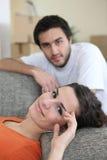 夫妇日放松的疲倦 库存照片