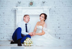 夫妇日他们的婚礼 免版税图库摄影