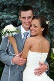 夫妇最近与结构结婚 库存照片