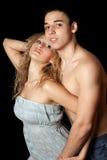 夫妇查出的热情的纵向年轻人 库存图片