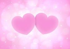夫妇桃红色心脏 库存照片