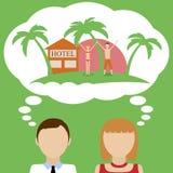 夫妇梦想关于假期 免版税库存照片