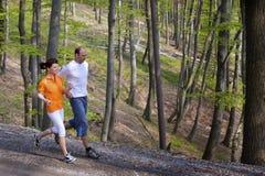 夫妇森林跑步 库存图片