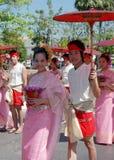 夫妇泰国伞 免版税图库摄影