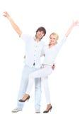 夫妇浪漫常设年轻人 免版税图库摄影