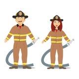 夫妇消防员 库存照片