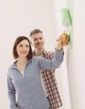 夫妇爱恋的绘画空间 免版税库存图片