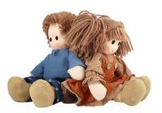 夫妇玩偶旧布 库存照片