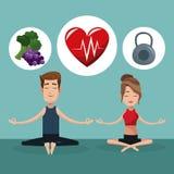 夫妇瑜伽健康锻炼的食物 库存例证