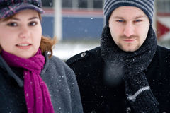 夫妇甜点冬天 免版税图库摄影