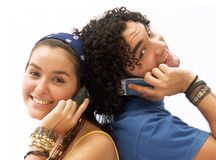 夫妇电话 免版税库存图片