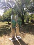 夫妇的抽象铁雕塑 免版税图库摄影
