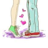 夫妇的腿在爱的 库存照片