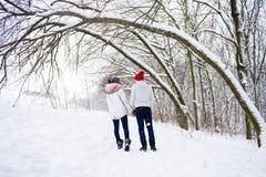 夫妇看法在爱的从后面在户外冬天 库存照片