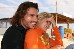 夫妇笑 免版税库存图片
