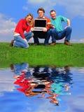 夫妇笔记本 免版税库存图片