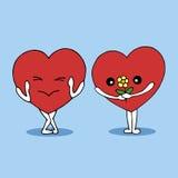夫妇约会传染媒介的恋人心脏手拉的例证 库存照片