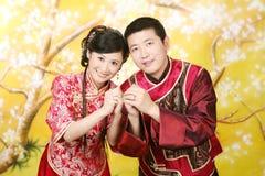 夫妇纵向婚礼 库存照片