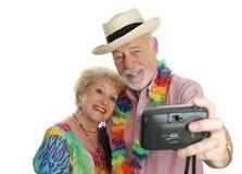 夫妇纵向自假期 免版税库存照片