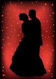 夫妇结婚的剪影 免版税库存照片