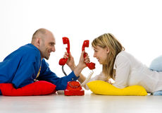 夫妇给年轻人打电话 免版税库存图片