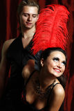 夫妇舞蹈家红磨坊 免版税库存照片