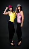 夫妇舞蹈迪斯科准备好的性感的妇女 免版税库存图片