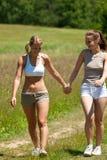 夫妇草甸夏天二走的妇女 免版税库存照片