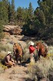 夫妇西部骑马的线索 库存照片