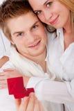 夫妇订婚浪漫爱的环形 库存照片