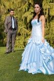 夫妇订婚种族turkisk婚礼 免版税库存照片