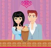年轻夫妇调情的人和饮料咖啡 库存图片