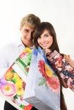 夫妇购物年轻人 库存照片